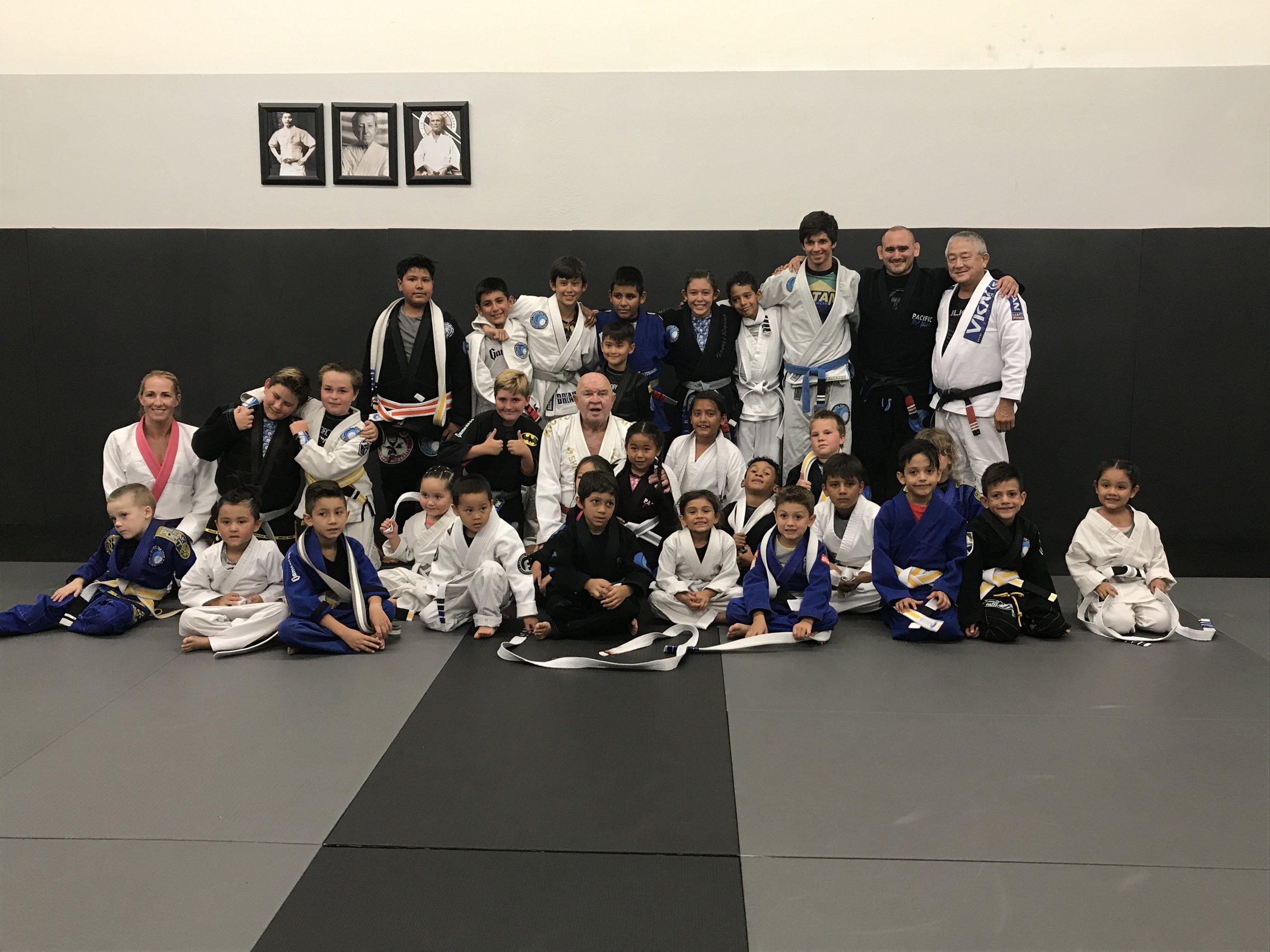 Kids received their Belts from Jiu Jitsu Legend 9th Degree Red Belt GranMaster Francisco Mansor