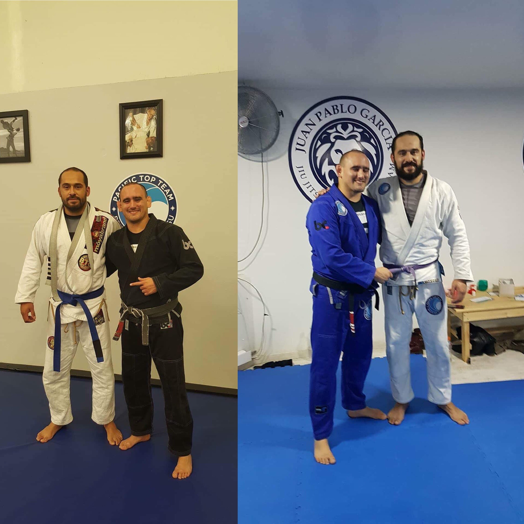 Coach Pablo Receiving his blue and purple belts from Professor JP