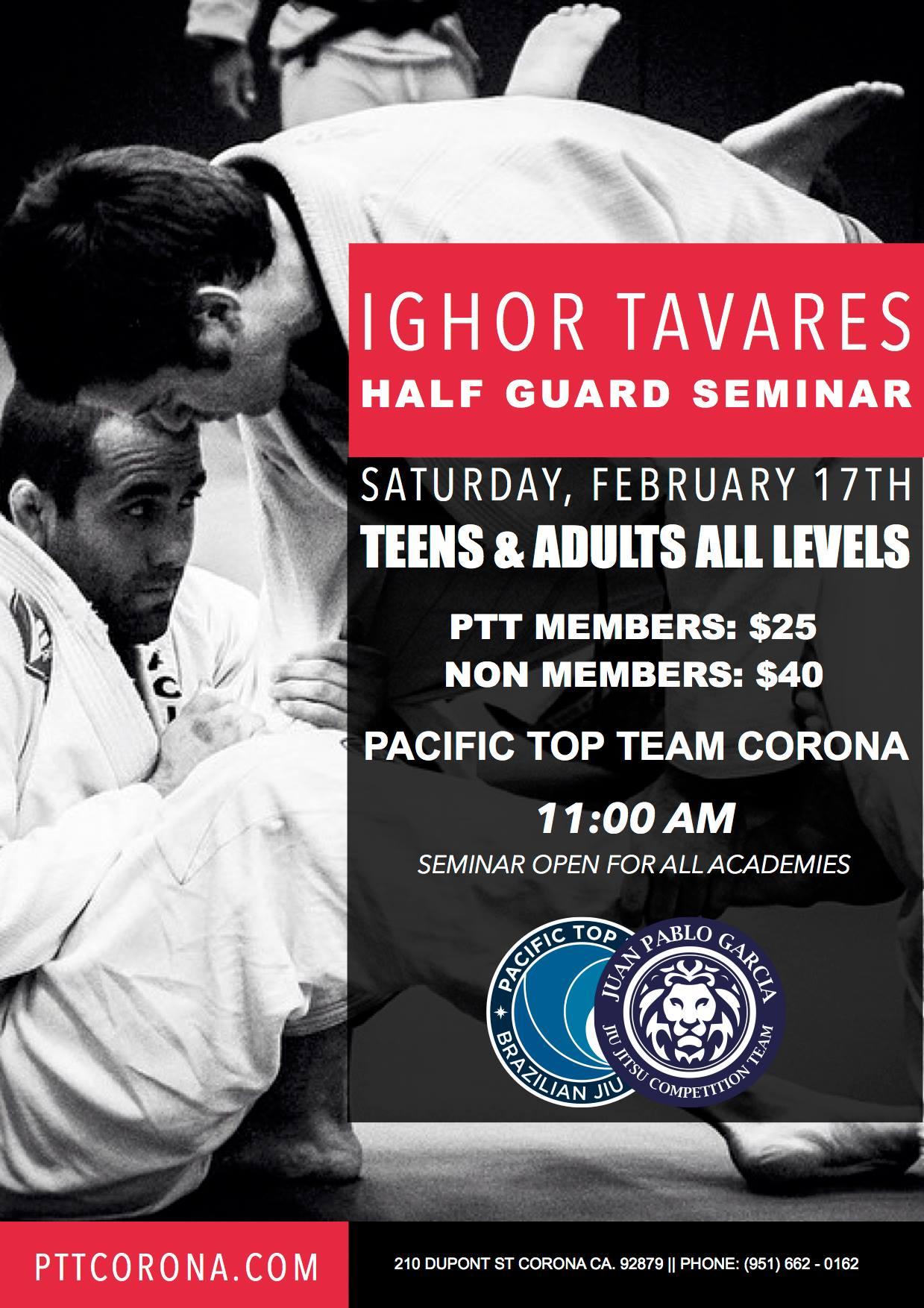 Igor Tavaris half guard jiu jitsu seminar corona