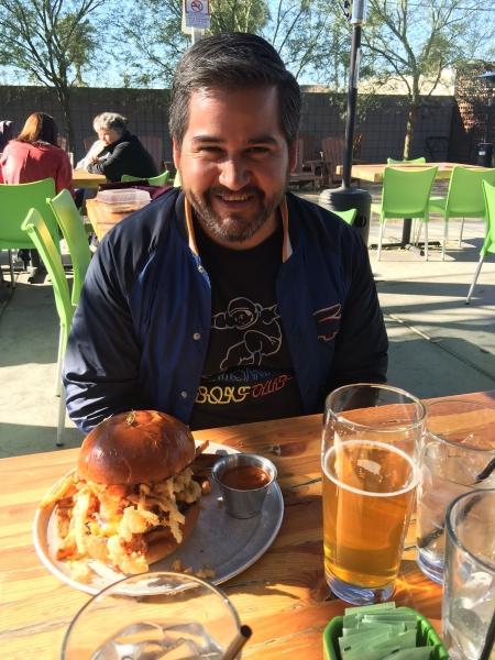 Daniel with giant hamburger, 12-15