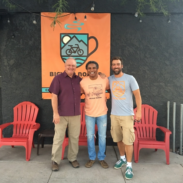 Tulio with Erick Cendeno, owner of Nomad Cafe and well-known bicyclist. 11-12-15
