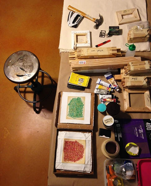 Alexis has set up his studio for his artist residency! 2-19-15  Photo credit Alexis Duque