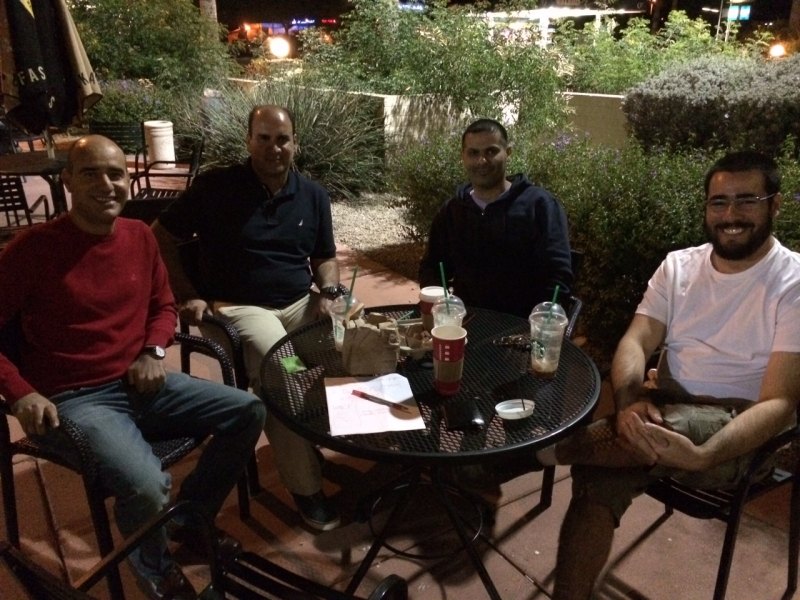 Felipe with Saleem Suzah, Salman Al Wastei, and Falah Al Saidi (Unloaded 2, December, 2014), Starbucks Coffee, Phoenix  11-15-14