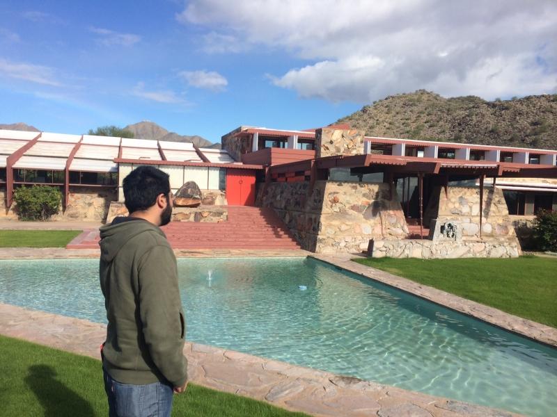 Felipe visiting the Frank Lloyd Wright School of Architecture, Taliesin West, Scottsdale  12-18-14