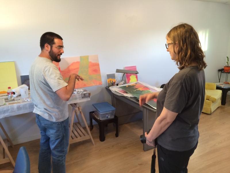 Felipe and Phoenix-based visual artist Carolyn Lavender in Felipe's studio  11-17-14
