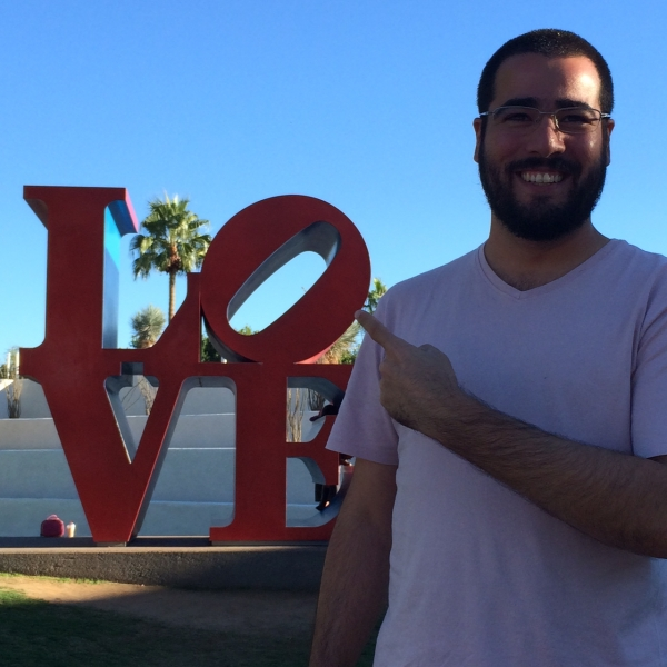 Felipe at Scottsdale Civic Center with Robert Indiana LOVE sculpture  11-6-14