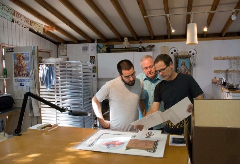 Felipe visiting with master printer Brent Bond, Santo Press, Scottsdale  11-17-14  Photo Credit Carolyn Lavender