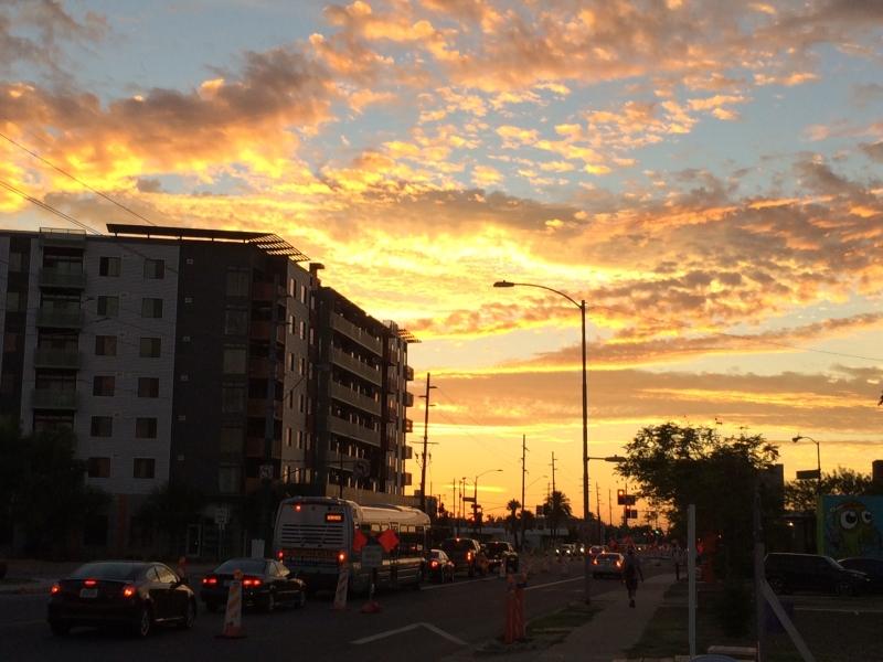 Phoenix sunset, exhibition opening night  10-17-14