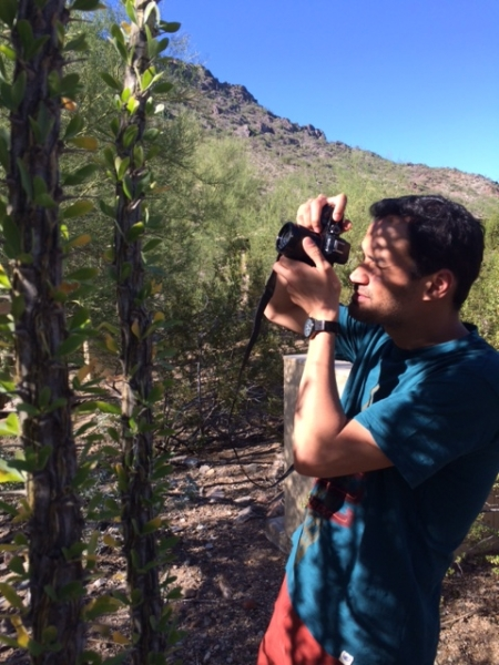 Wanderson photographing in the desert with an ocotillo cactus in the foreground  10-17-14
