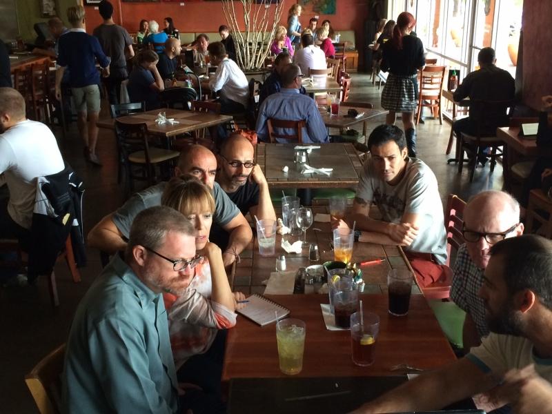 Wanderson with phICA Board members Vicki Stouffer, Greg Esser, and Eddie Shea; Edson Silva, Director/Co-Founder of Casa da Ribeira Cultural Center, Natal, Brazil; Hugo Delgado, owner of Oba! Restaurant, São Paulo; and Porto Alegre, Brazil-based artist Túlio Pinto, Pita Jungle, Tempe  10-8-14