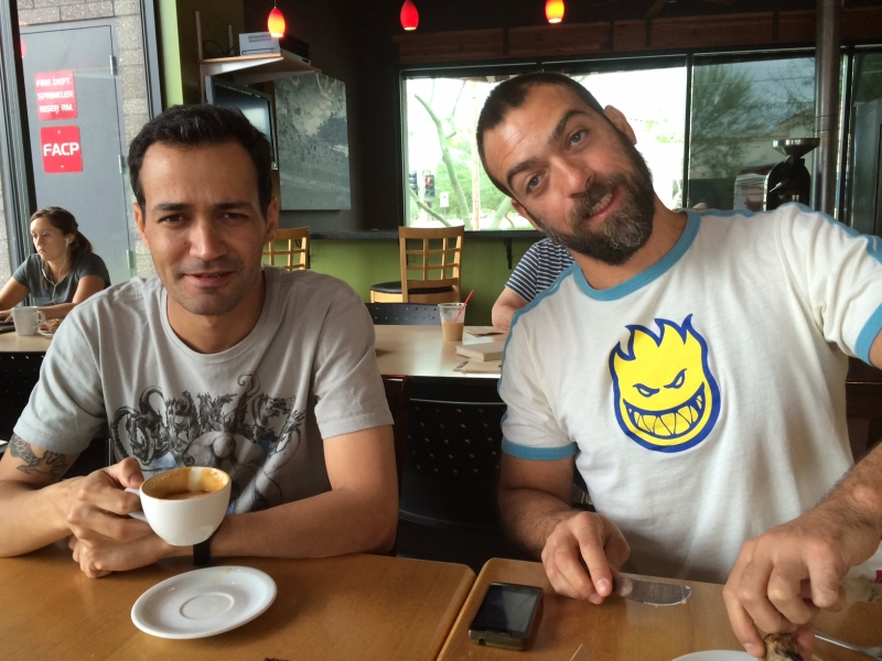 Wanderson with Tulio Pinto from Porto Alegre, Brazil at Echo Coffee, Scottsdale  10-7-14