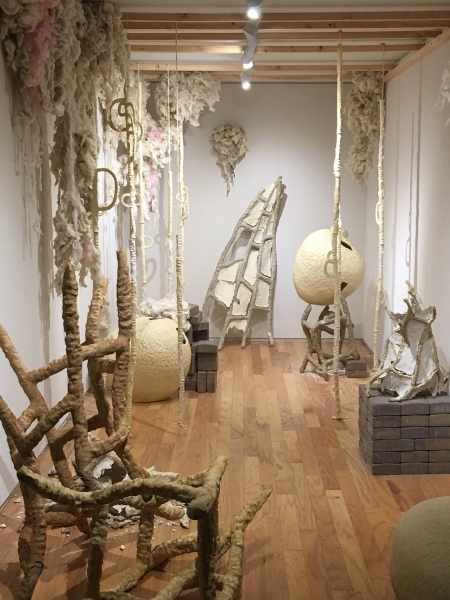 Heather Couch, Fault Lines, Ceramic, cotton, wood, mixed materials, Installation View. 11-20-15