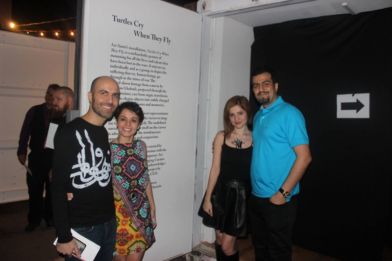 Azi with Reza and curator Ellee Bokharachi and Babak Rezaee, Third Friday, 2-19-16