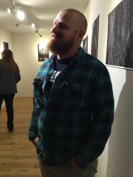 Tempe-based visual artist Cory Slawson (Onloaded 1, Marchm 2014) enjoying Wanderson's exhibit, 11-7-14