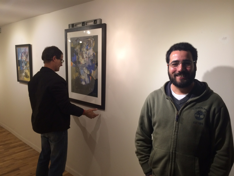 Brent Bond with Felipe Góes at installation of Falah's exhibition, 12-18-24