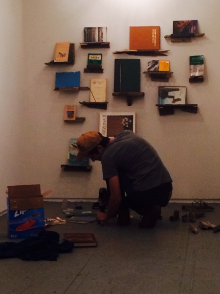Ben working on his back wall installation, 2-19-15