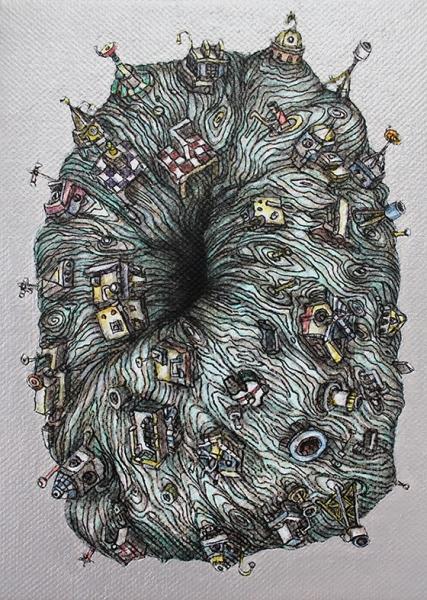 Black Hole 3, 2014  Acrylic on canvas 7 x 5 inches