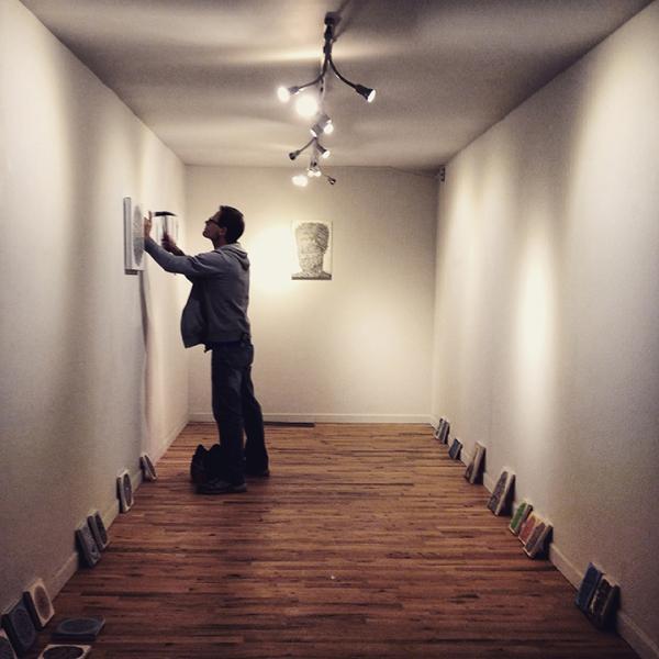 Brent Bond installing Alexis' Exhibition, 2-19-15
