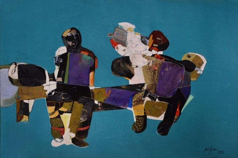 Najelaa Alramahi Waiting, 2012  Acrylic on Canvas 31 x 47 inches