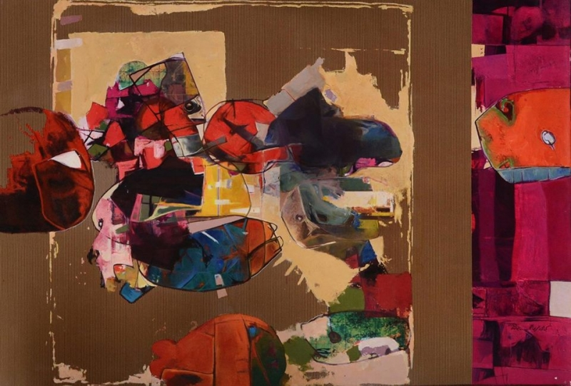 Childhood Memories, 2010  Mixed media on canvas 39 x 59 inches
