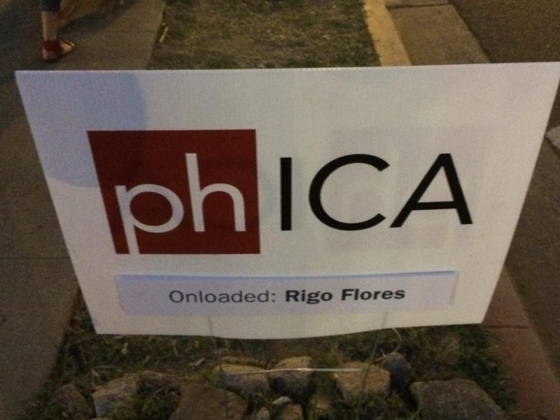phICA sign, Rigo Flores, First Friday, 4-3-15