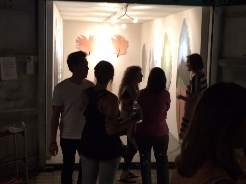People viewing Lauren's work, First Friday, 5-1-15