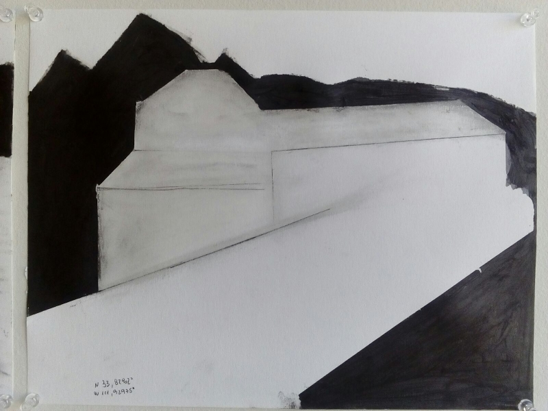 Tulio Pinto, Displaced Four Times, North Drawing, 2015, Acrylic, graphite on paper