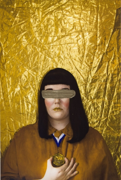 """Golden Child    Anonymous Self Portraits , 2015 Digital Color Archival Inkjet print with Hand Applied Processes 11 x 8.5""""."""