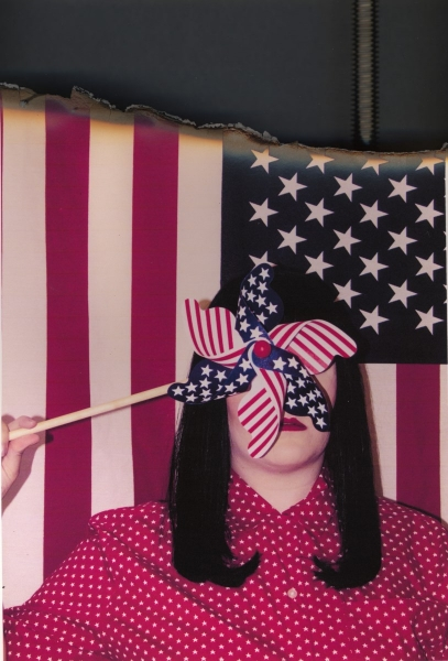 """Loyal Amurican    Anonymous Self Portraits , 2015 Digital Color Archival Inkjet print with Hand Applied Processes 11 x 8.5""""."""