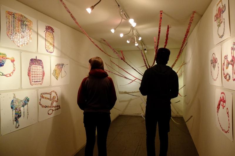 Viewers enjoying Malena Barnhart's drawings and installation, Phoenix First Friday, 2-6-16
