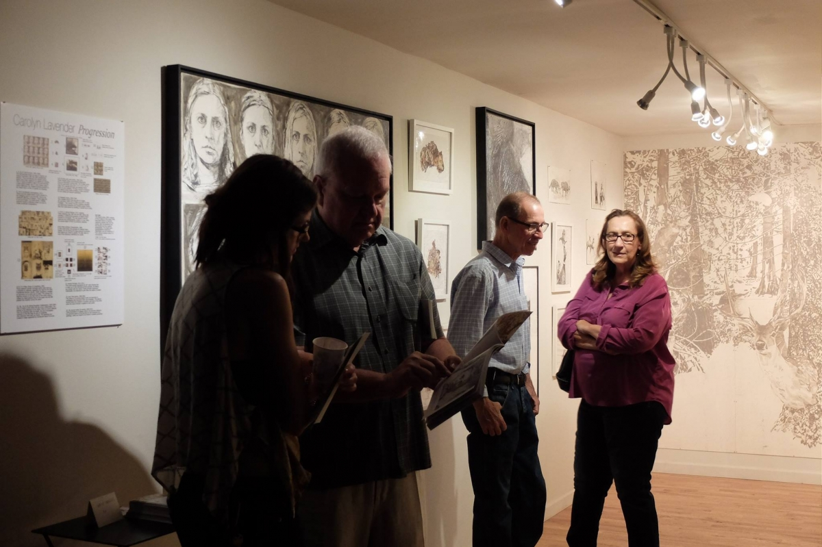 Visitors to Carolyn Lavender's exhibition. 3-18-16. Photo credit Salman Alwastey  Photo credit: Ted Decker