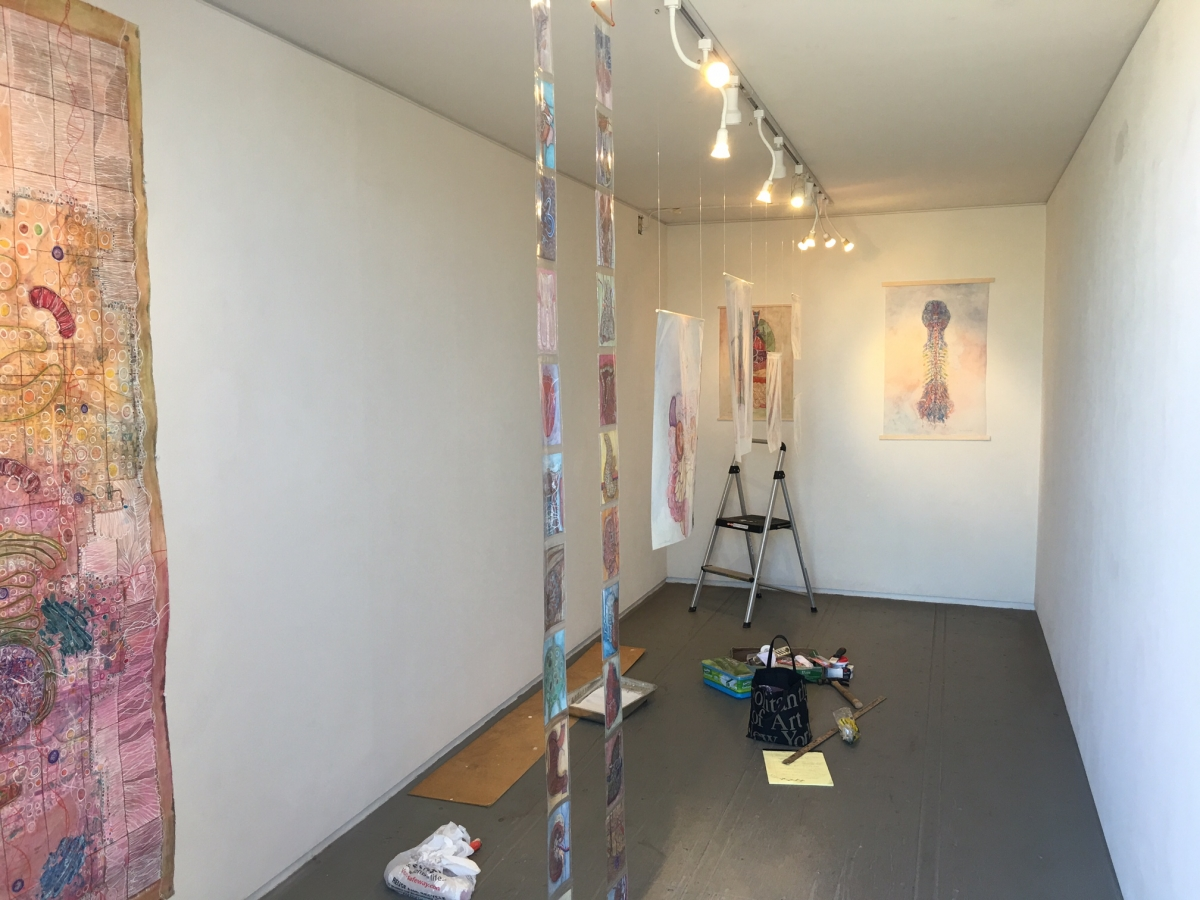 Installing Monica's exhibition, 3-13-16
