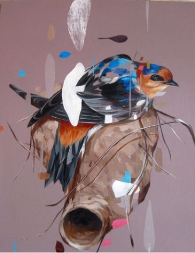 Cave Swallow and Nest , 2011  Acrylic on panel 14 x 11 inches