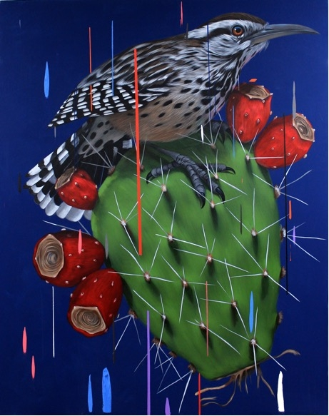 Cactus Wren and Nopal , 2016  Acrylic on canvas 72 x 57 inches