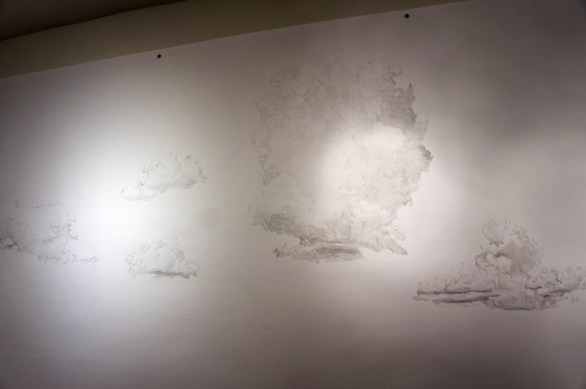 Karolina Sussland, Sunset Clouds, 2016, Graphite on paper (detail), 42 x 420 inches