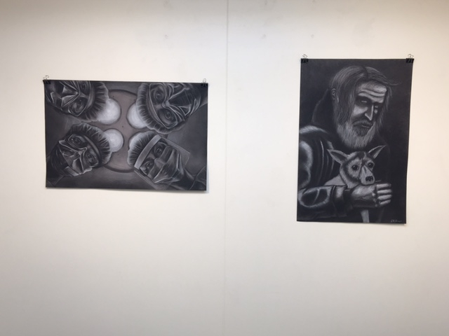 Christian Stewart and Kat McGrath charcoal drawings, 4-16-16