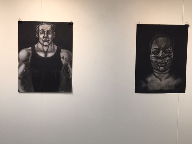 Kat McGrath and Christian Stewart drawings made with charcoal, 4-16-16
