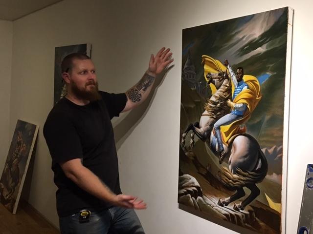 Cory Slawson installing Darrin's exhibition, 10-20-16