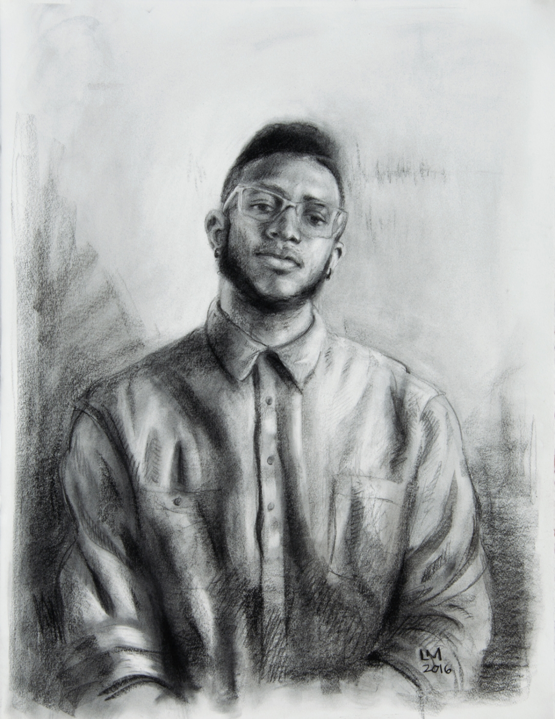 Jordan Jacques , graphite, charcoal and conte, 2016
