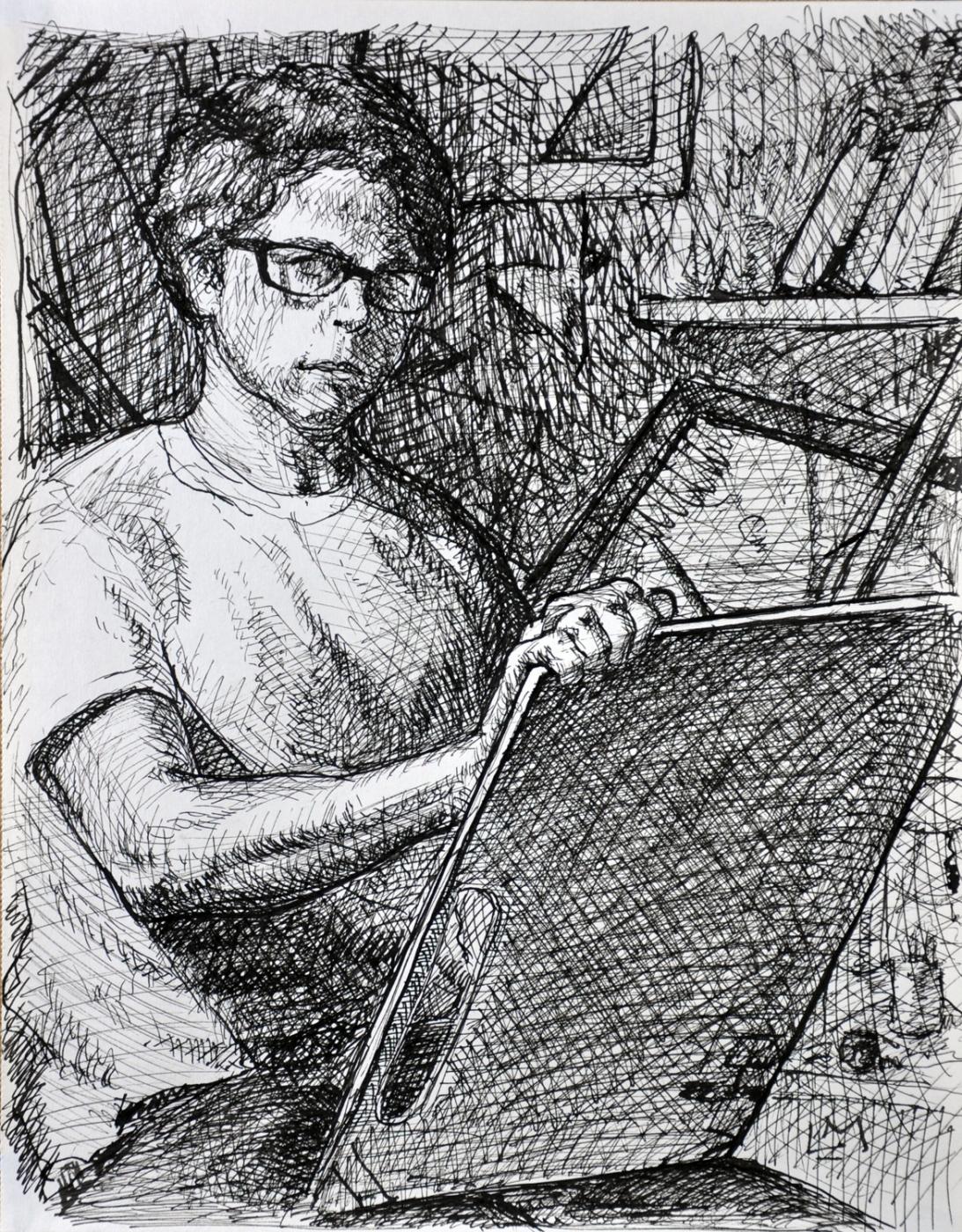 Self-Portrait in the Studio , ink, 2014