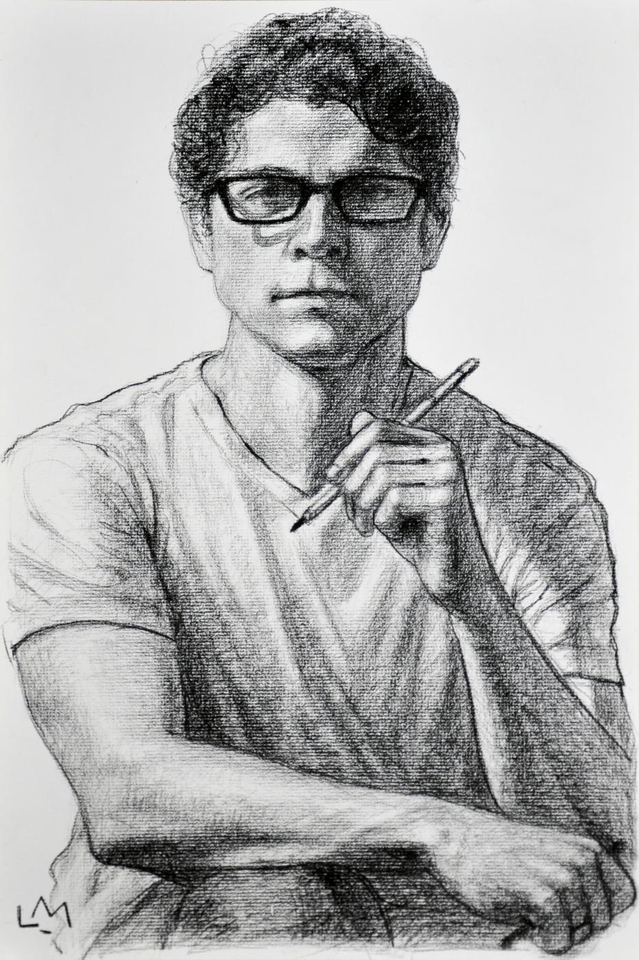 Self-Portrait , charcoal, 2014