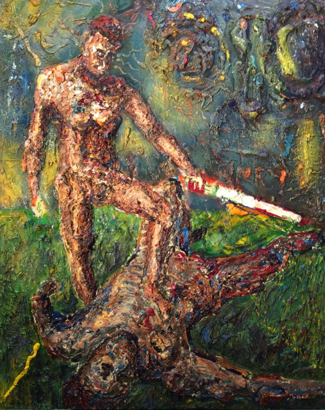 Everardo de David and Ramón de Goliath , 2016 Mixed media 52 x 40 inches Courtesy of the Artist
