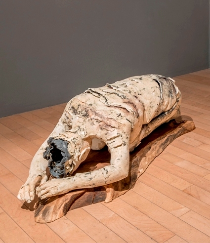 Constance McBride,Truth from Within, Ceramic, copper carbonate, wax, wire, 36 x 20 x 14 in. Photo credit William LeGoullon.jpg