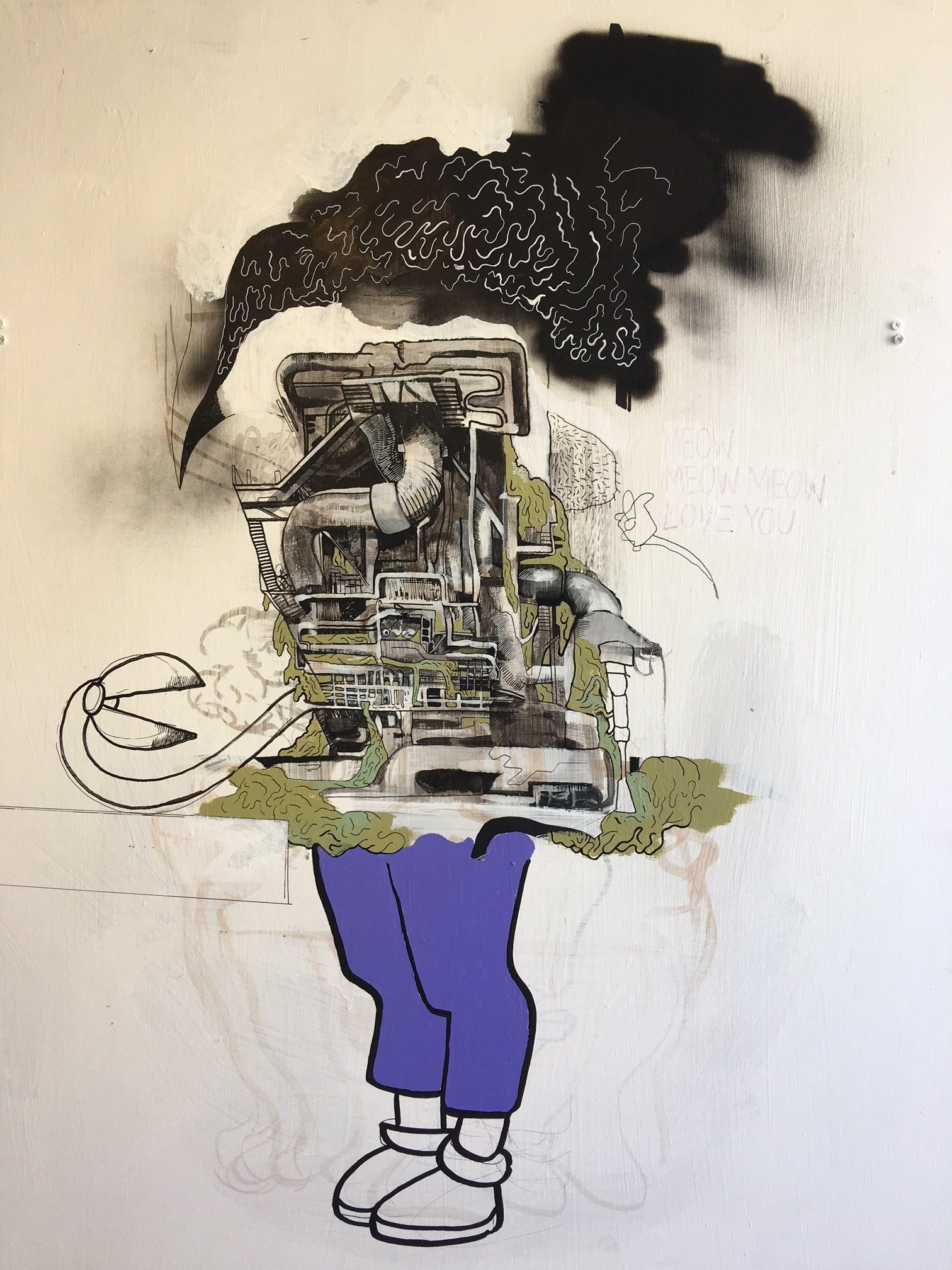 Bae , 2017  Acrylic media on Drywall  40 x 36 inches