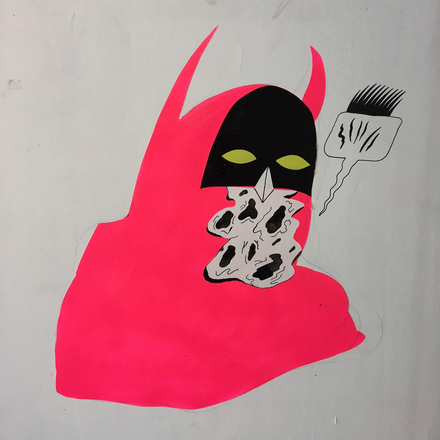 Mouth Cancer Neon Pink Batman , 2017  Acrylic media on Drywall  24 x 24 inches
