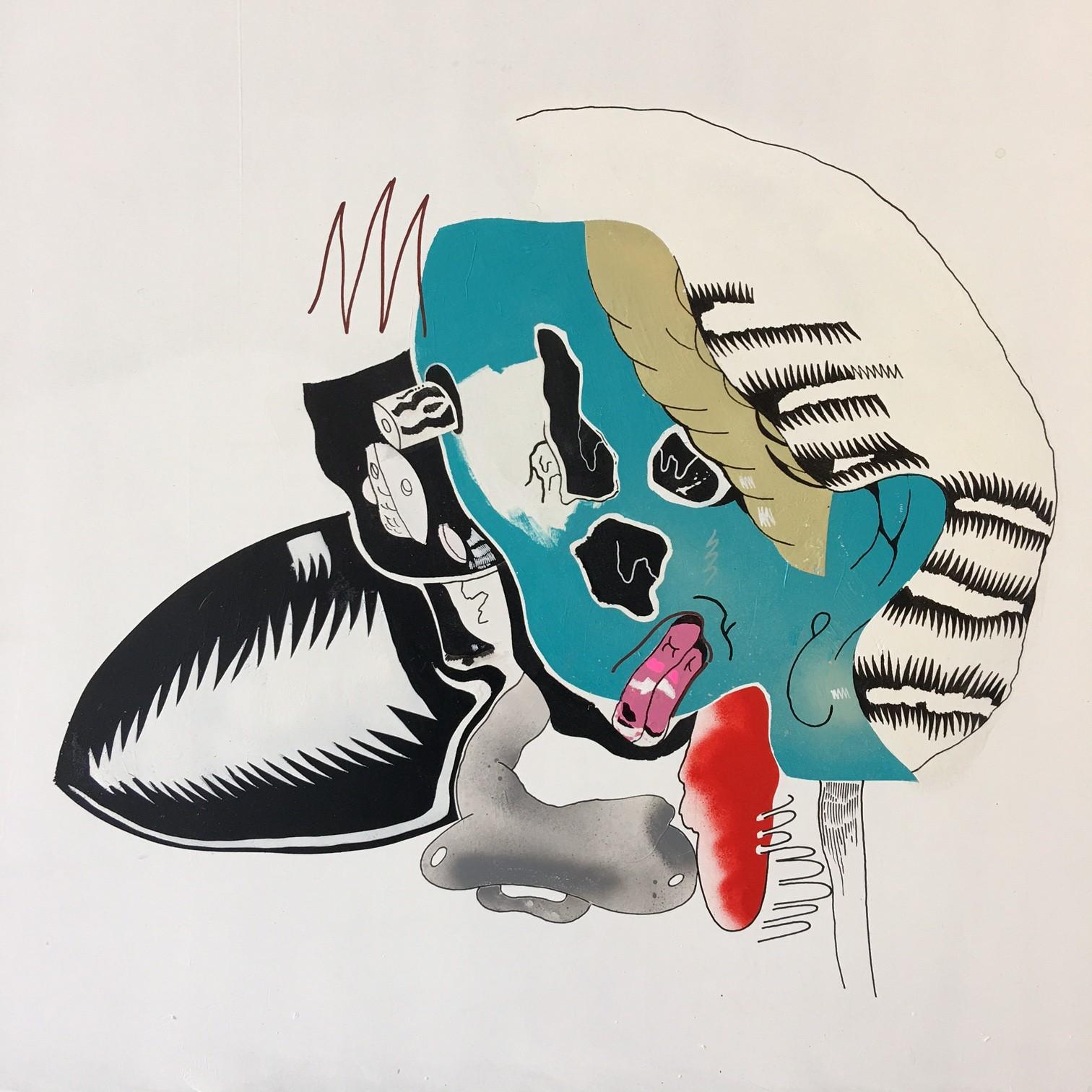 Sami , 2017  Acrylic media on Drywall  24 x 24 inches