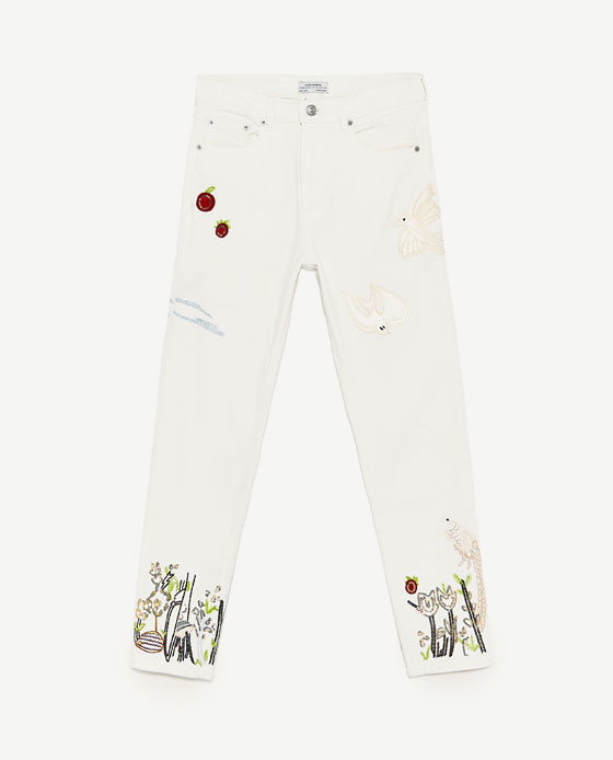 Zara High Waisted Embroidered Jeans