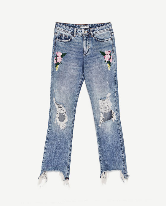 Zara Boyfriend Floral Jeans