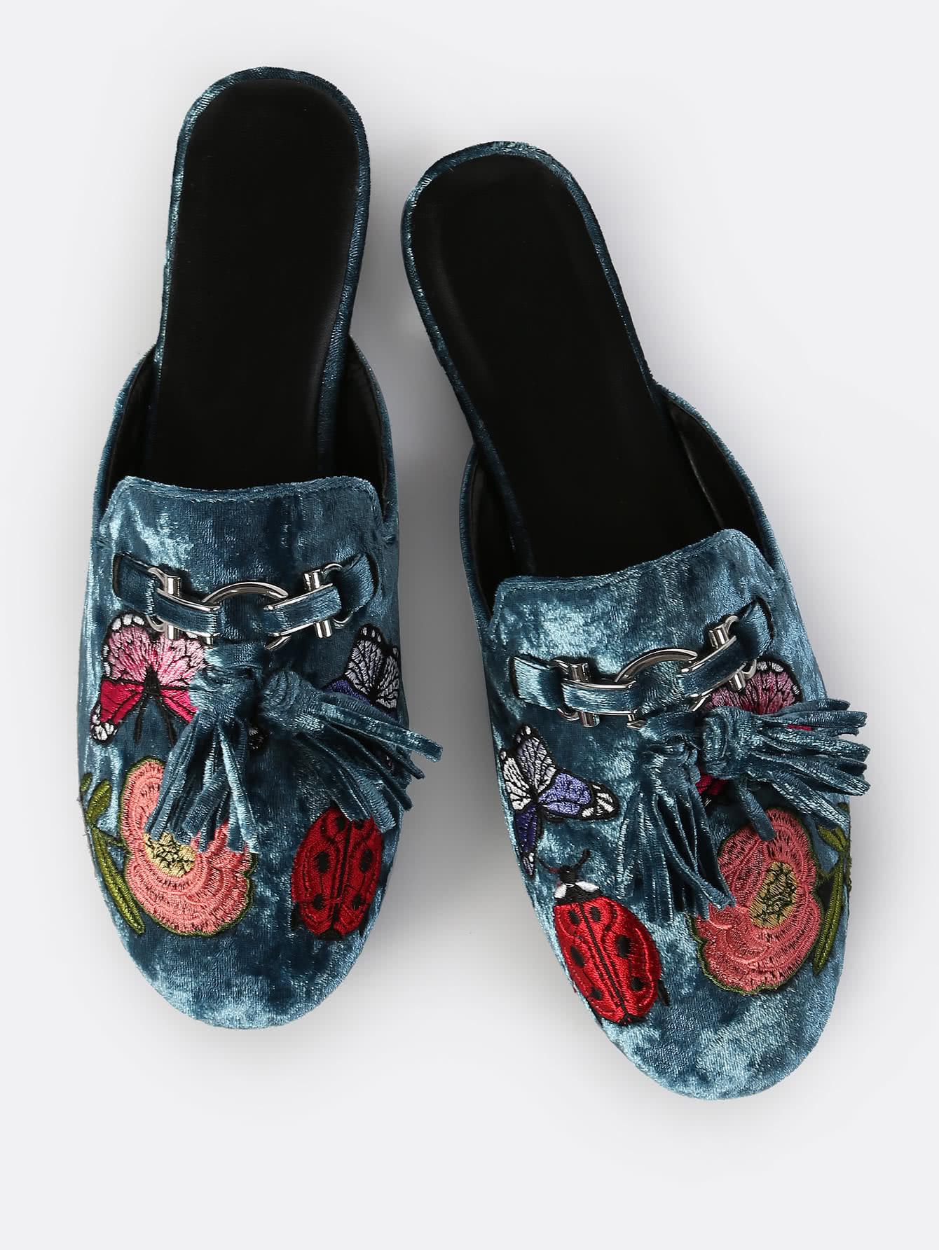 SheIn Embroidered Velvet Slip On Loafers