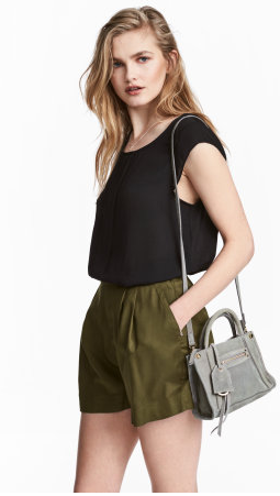H&M Wide-Cut Khaki Shorts